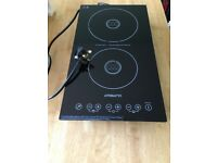 Portable double induction hob - plug into normal socket
