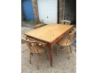 Beautiful Victorian Pine Table And Chairs