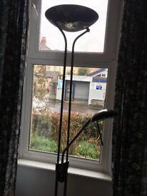 'Mother & Child' floor lamp. Dark satin finish. New halogen bulb. Dimmer switch on reading lamp.