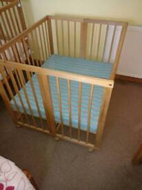 Baby XL cot with mattress and cover
