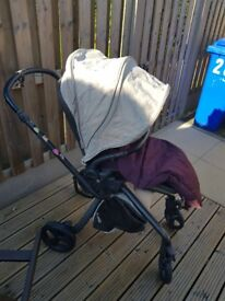 Grey/plum mamas n papas Mylo travel system-inc carry cot ,pushchair,car seat & accessories.