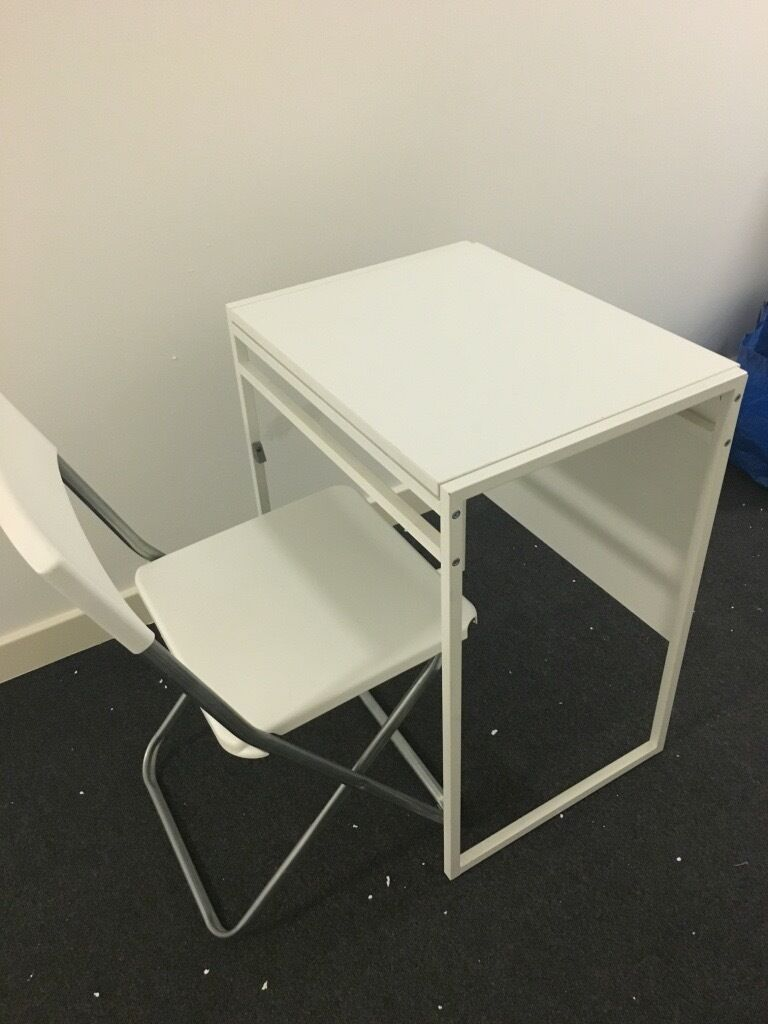 Ikea Muddus Folding Foldable Extendable Table Desk With 1 Chair And Cushion