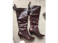 Dune brown leather boots