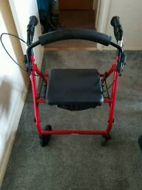 Mobility 4 wheel disability walking frame seat with nylon under carrier
