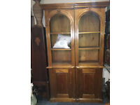 Gorgeous Pair of Tall Carved Hardwood Open Bookcases with Lockable Cupboards