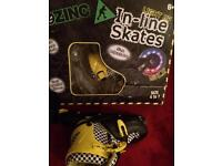 In line skates black and yellow adjustable