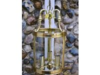 Contempory brass finish 3 light hall lantern. New. Unused. Very striking!