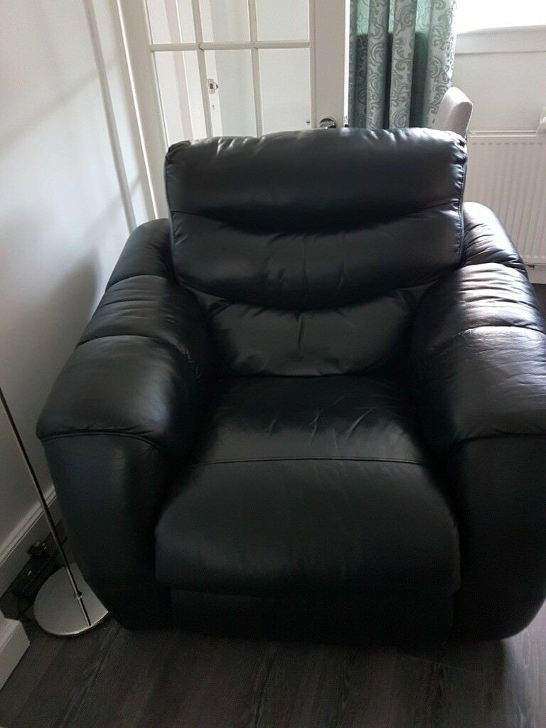 Italian Leather Reclining Corner Suite And Chair In Port