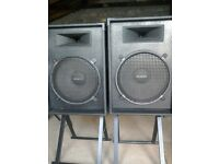 "1 pair of 15"" PA Speakers / Bass bins with 15"" Eminence bass speaker and horn."