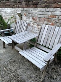 Wooden garden love seat 2 seater and table