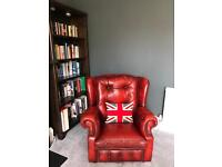 Red leather Chesterfield sofa and armchairs