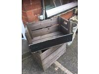 TWO VINTAGE WOODEN CRATES - VARIOUS USES