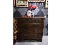 Beautiful Vintage Oak Tall Chest of Drawers - Uk Delivery