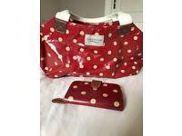 Red polka dot bag and matching purse