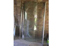 Glass semi-circle shower enclosure