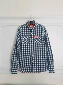 Superdry Black, Grey and White Checkered Shirt, Size M