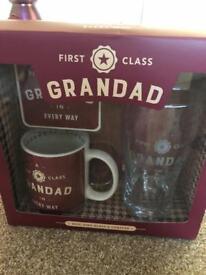 Grandad mug, glass & coaster set