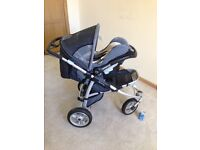 Pushchair and car seat with accessories