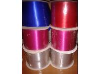 50m rolls Satin Ribbon 100mm Wide 6 rolls, vaiorus colours, sashes, party etc
