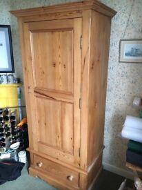 Beautiful antique style waxed pine wardrobe.