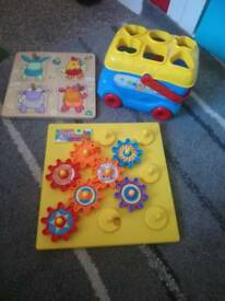 Toys, shape sorter, wooden puzzle, spinning wheels