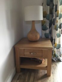 Oak side table and table lamp