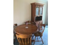 Dining Table, 4 Chairs and matching Wall Cabinet. As new.