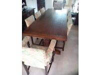 Dining Table and 8 Antique Chairs (incl. 2 x carver chairs) circa 1920