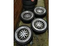 """18"""" 5X112 BBS LM STAGGERED VW AUDI GOLF MK5 A3 A4 A5 MERCEDES AMG SPORT GT NEW TYRES"""