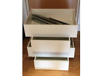 Ikea Pax Komplement white drawers: Four 50x58 cm and one 100x35 cm
