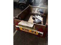 Trailer for sale,size aprox 88cm wide,115cm long,40cm deep two spare wheels