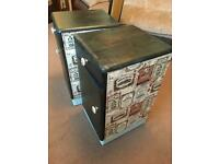 Pair of Upcycled vintage bedside cabinets