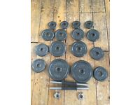 Almost New 27kg Pro Power Cast Iron Free Weights Set RRP £60