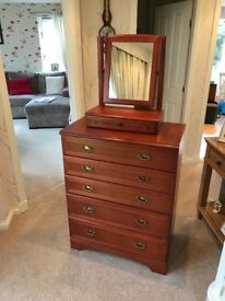 McIntosh mahogany bureau, chest of drawers with mirror and bedside cabinets x 2