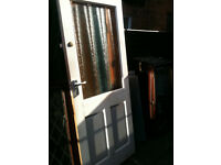 Exterior hardwood door with large frosted double glazed panel