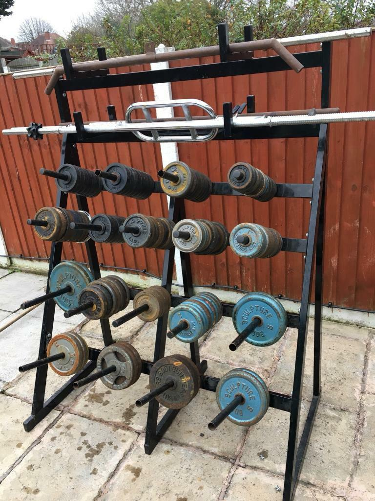 230kg Metal Weights with rack and bars