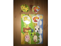 Child / Baby / Toddler Wooden Animal Puzzle, Very Good Used Condition