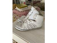White adidas high top trainers size 5