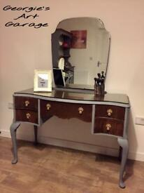 Beautiful fully refurbished antique look dressing table in anthracite grey and medium oak varnish