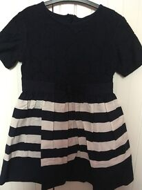 Next girls dress, navy blue and white, aged 6 years.