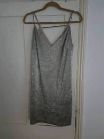 Gold metallic River Island mini dress size 10