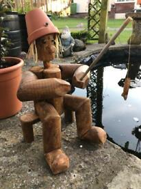 Flowerpot man fishing