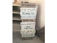 Shabby chic large wooden sign