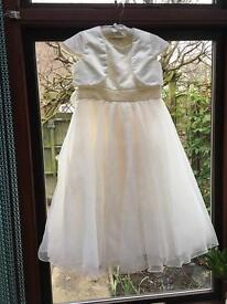 Bridesmaid dress Age 10, with Bolero, Oyster satin and Pearls Really lovely.