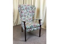 High Wing Back Easy Chair Floral Fireside Armchair - FREE Delivery Available