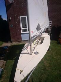 Laser 1 sailing dinghy ready to sail