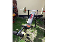 Weider fb200 classic weight training bench with with bar bell and a selection of York Weights