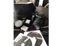 Canon EOS 1000D DLSR Bundle camera, lens, batteries, charger, case, pack