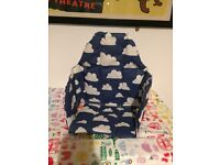 Farg form cloud print Highchair cushion/insert.blue clouds.padded.feeding.sweden