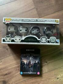 Zack Snyder's Justice League Funko Pop! 4 Pack Metallic Set - With DVD.
